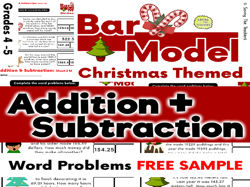 Free Sample: Christmas Addition & Subtraction Bar Model Word Problems Years 5 and 6