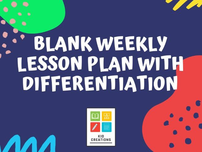 Blank Weekly Lesson Plan with Differentiation