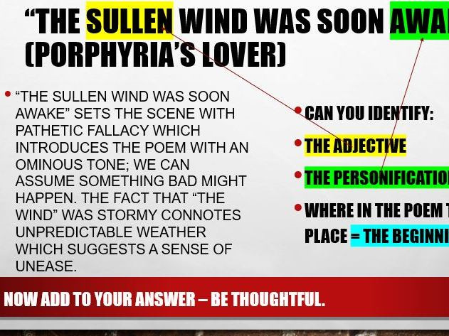 Porphyria's Lover AND general HA (being thoughtful, rather than just clear) in AQA poetry response