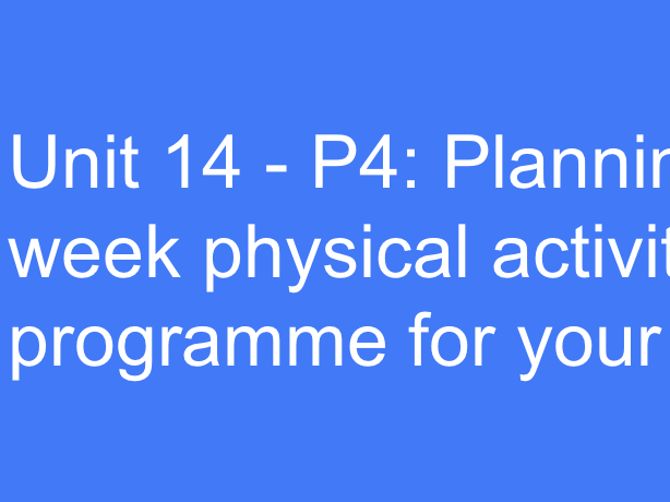 BTEC Sport L3 (Unit 14): Planning a 6-week physical activity programme for your client (Powerpoint).