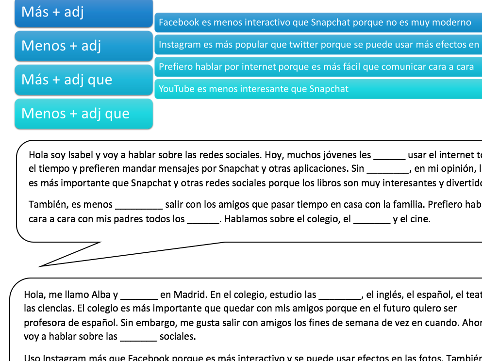 Comparative Phrases in Spanish Listening Transcript + Exercise // Technology GCSE