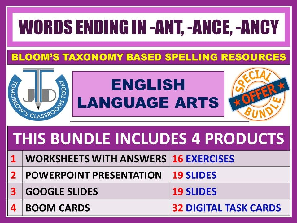 SUFFIXES: WORDS ENDING IN -ANT, -ANCE AND -ANCY - BUNDLE