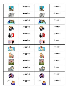 ARE verbs activities in Italian Dominoes
