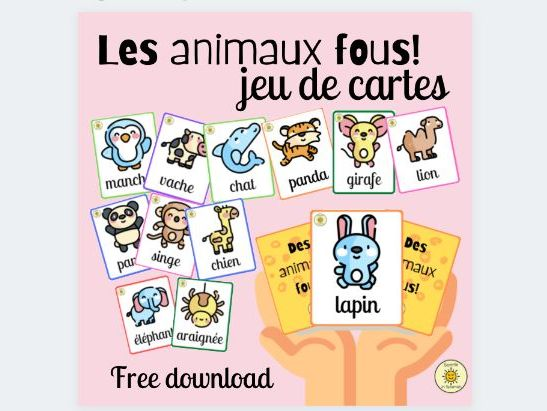 Les animaux fous. Jeu de cartes. Animals French vocabulary card game