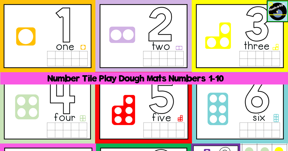 Number Tile Play Dough Mats Numbers 1-10