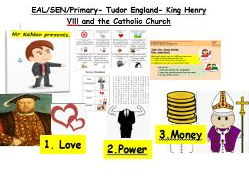 EAL/SEN/Primary Henry Vlll and the break up with the Catholic Church worksheet and activity