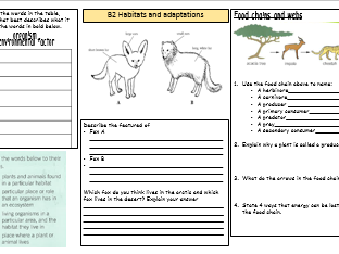ks3 habitats and adaptations worksheet by chesscience16 teaching resources. Black Bedroom Furniture Sets. Home Design Ideas