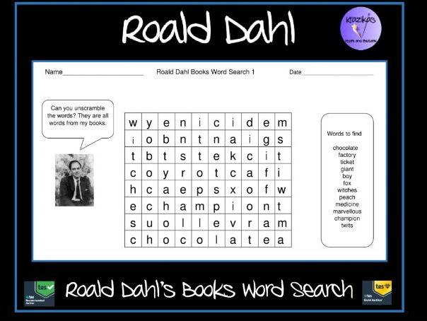 Roald Dahl Children's Books Word Search
