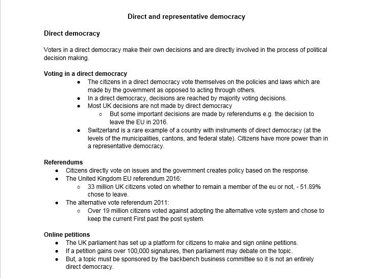 A level Politics : Types of democracy