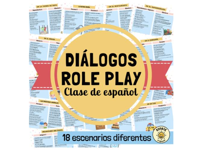 Diálogos en español. Tarjetas para practicar la conversación/transacciones. Role Play Spanish GCSE