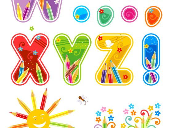 Decorated Letters W-Z with Punctuation Marks and Design Elements