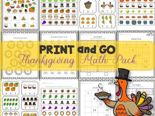 Thanksgiving Math Worksheets Print and Go | NO-PREP | TeKa Kinderland