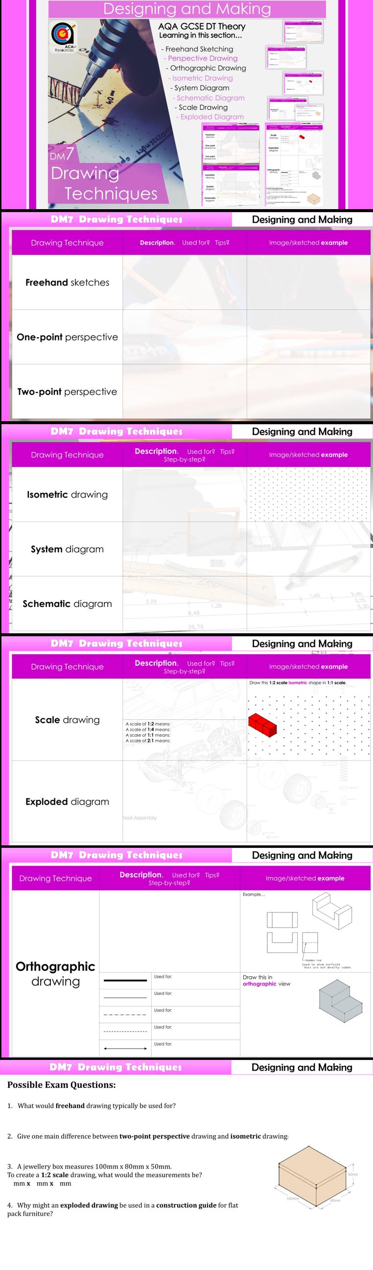 Aqa Gcse Dt Dm7 Drawing Techniques Teaching Resources