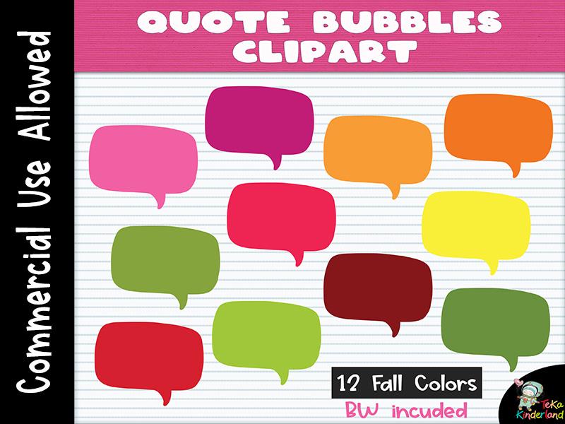 Quote Bubble Clipart Vol 1 | Speech Bubble Clipart | TeKaKinderland