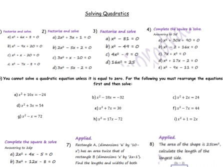 Algebra  GCSE revision -Quadratic Solving, Plotting, Sequences , Factorising