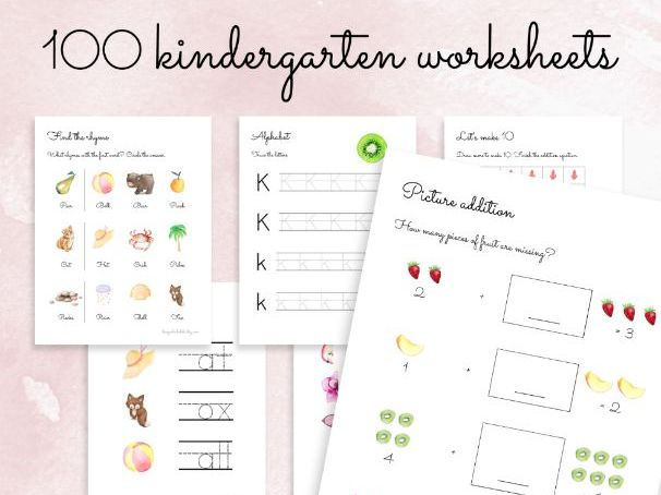 100 Kindergarten Worksheets