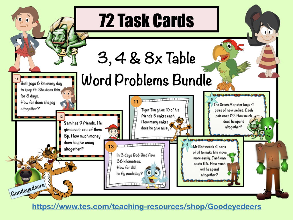 3,4 & 8 Times Table Word Problems - Task Cards