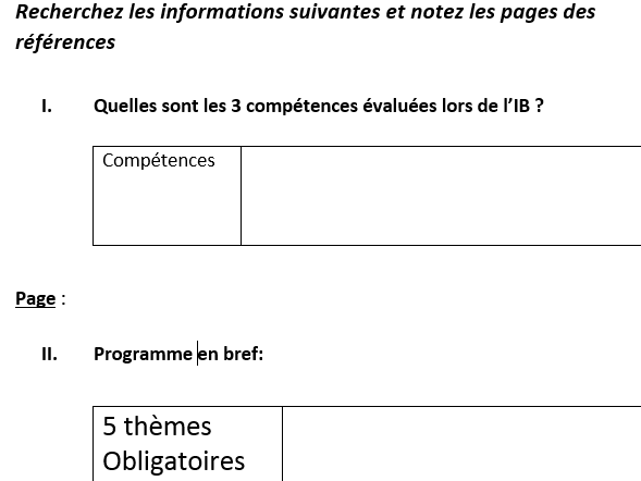 IB FRENCH B 2020 - Introductory activity