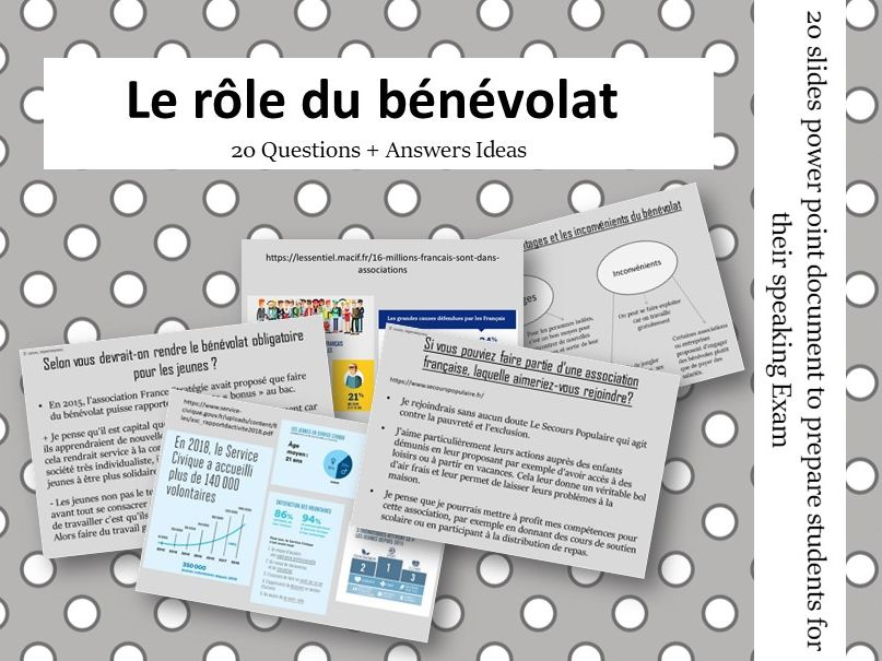 Le benevolat - Questions/Answers for the speaking exam (French AS Volunteering)