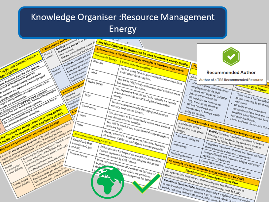 AQA 9-1 Knowledge Organiser : Resource Management Overview and Energy Option