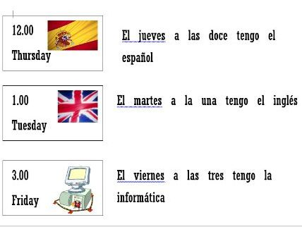 School timetable- Mi Horario - speaking/reading/card match up activity in Spanish
