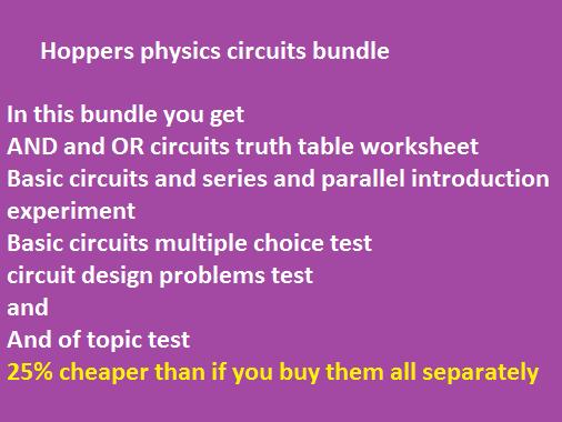 KS 3 or CE electrical circuits bundle