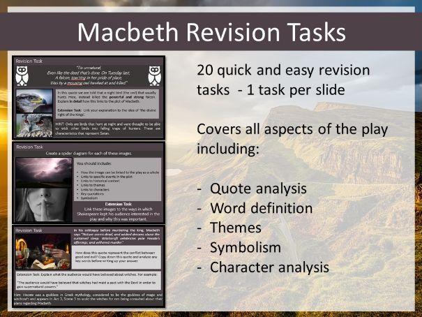 Macbeth Revision Tasks PowerPoint