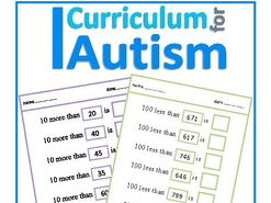 10 More Less, 100 More Less Cut & Paste Worksheets , Autism Special Education SEND
