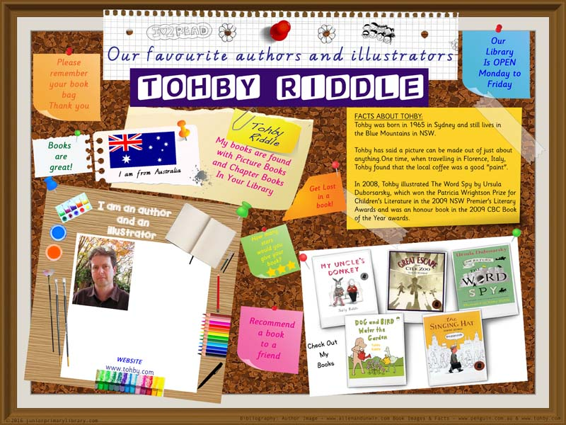 Library Poster - Tohby Riddle Australian Children's Picture Book Author Illustrator