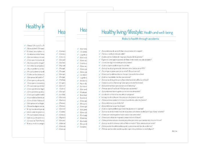 Y12 - Questions on Healthy living and lifestyle (Health and well-being)