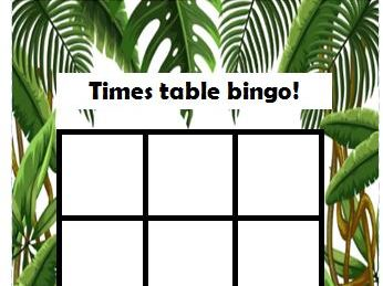 Times tables bingo cards