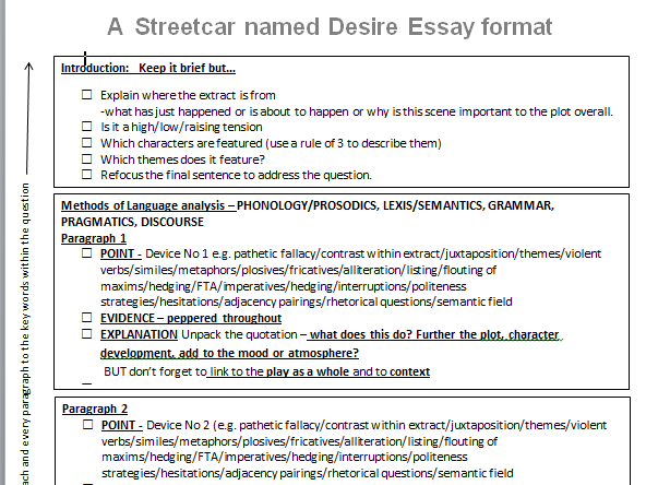 a streetcar named desire 6 essay Tennessee williams' a streetcar named desire was widely commented after its   6 assimilated unflaggingly, like an inescapable boomerang, a vortex of  summons  speech and phenomena: and other essays on husserl's theory of.