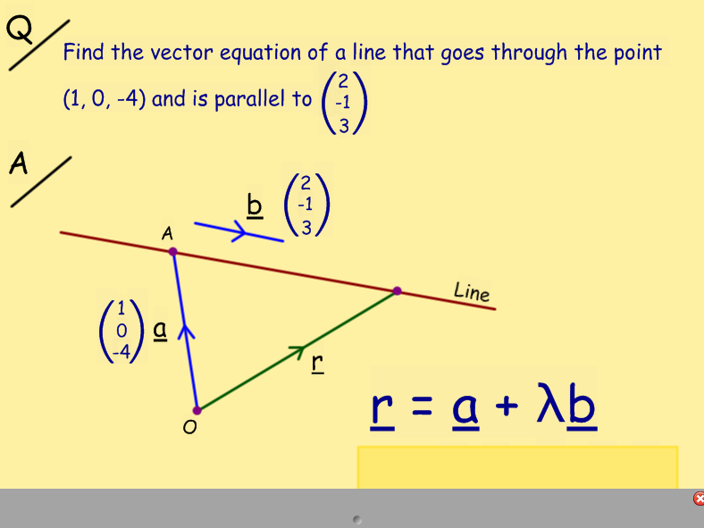 Vectors - scalar product and equation of a line
