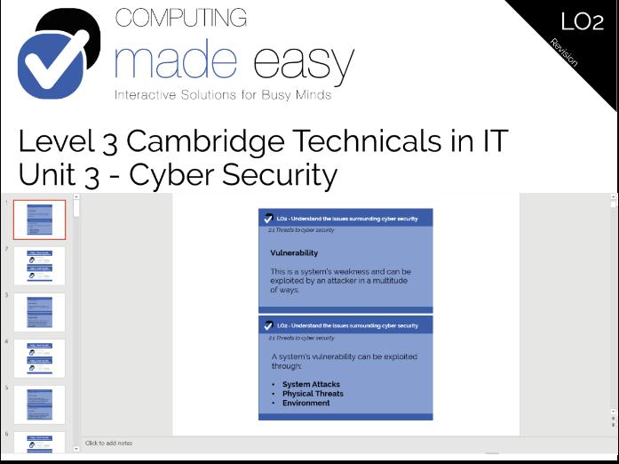 Cambridge Technicals IT Level 3 - Unit 3 LO2 Revision Cards
