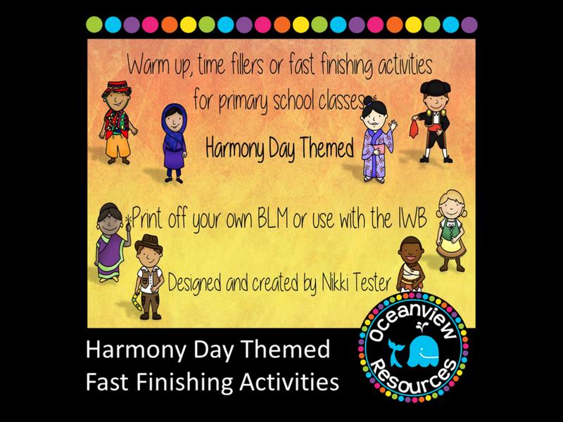Harmony Day Themed Fast Finishing Activities