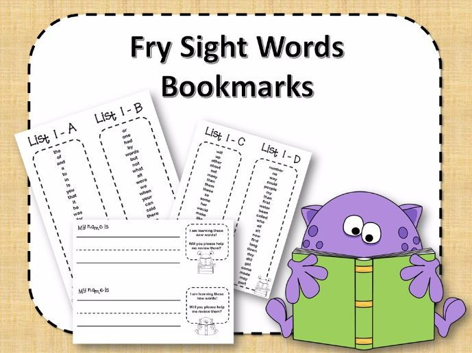 Fry Sight Word Bookmarks - 1 to 1000  - Monsters