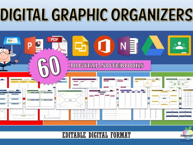 60 Digital Graphic Organizers (Google Drive, Classroom, PowerPoint)