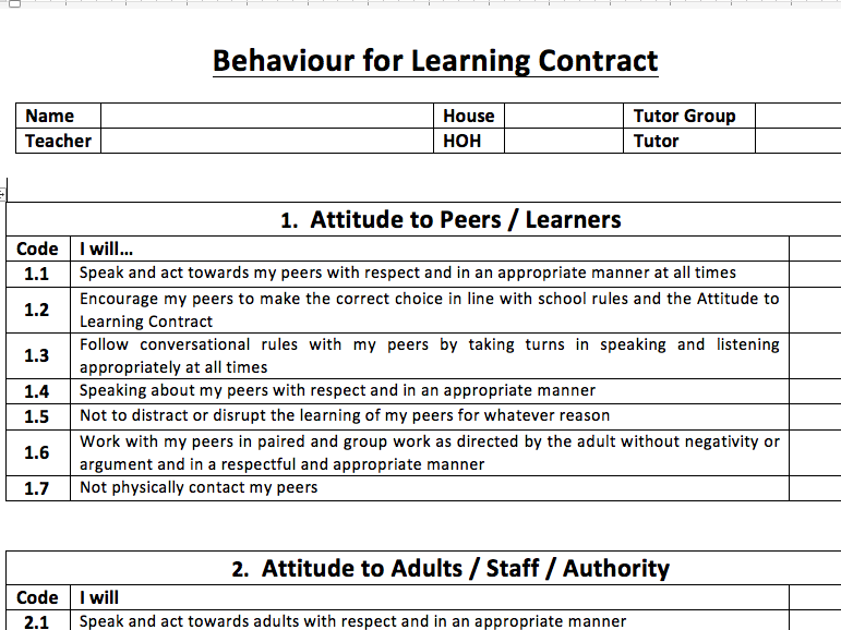 Behaviour for Learning contract DETAILED