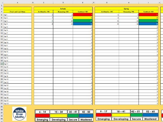 WRM Assessment Spreadsheet - Year 6 - Whole Year