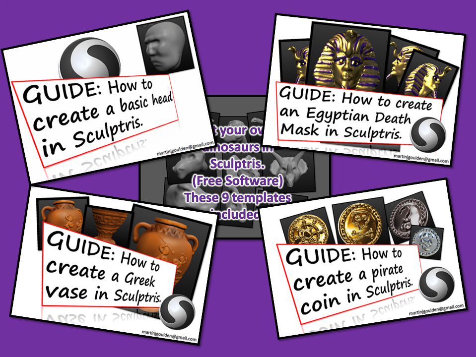 3D Sculptris Guides Bundle - Basics, Dinosaurs, Pirates, Egyptians and Greeks.