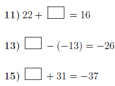 Addition and subtraction of integers: Finding missing numbers worksheet no 3 (with solutions)