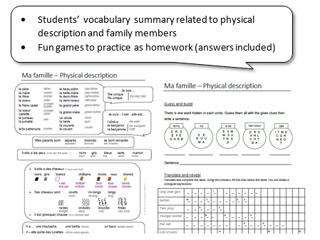 Physical description in French: students summary + games