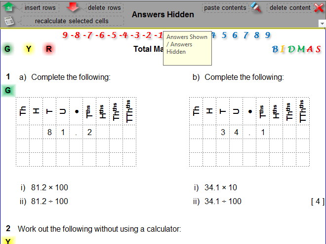 Multiplying and Dividing by 10, 100 and 1000 Differentiated Worksheet