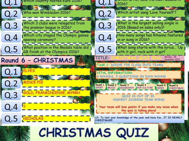 CHRISTMAS  QUIZ 2016 PACKAGE !