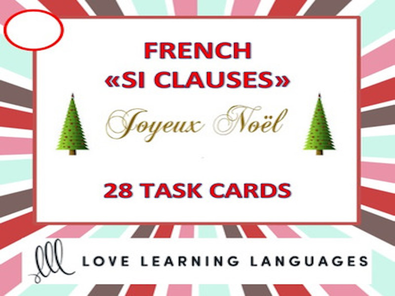 GCSE FRENCH: Noël - French Christmas SI CLAUSE Task Cards
