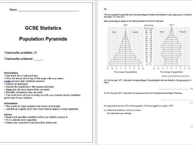 Population Pyramids Exam Questions (GCSE Statistics)