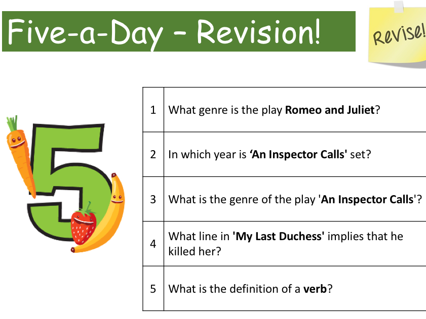5 A DAY QUESTIONS AND ANSWERS AQA TEXTS - UPDATED