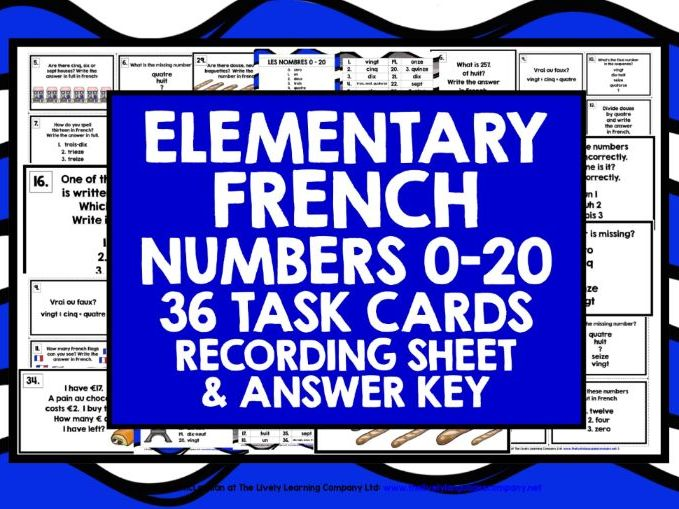 ELEMENTARY FRENCH NUMBERS 0-20 TASK CARDS