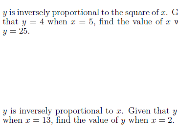Inverse proportion worksheet (with solutions)
