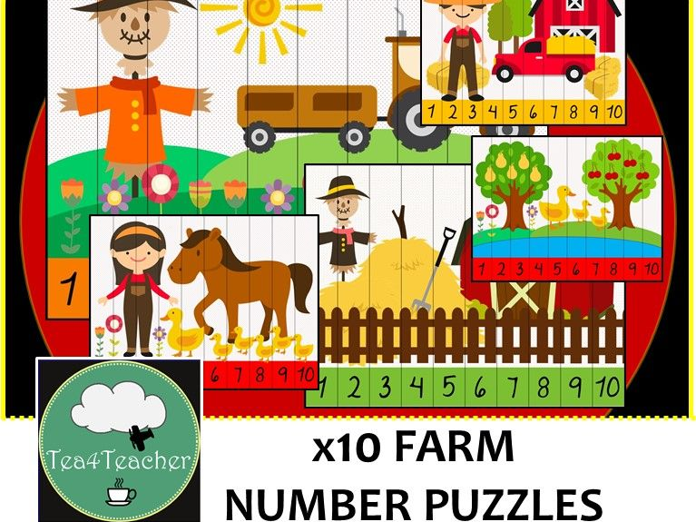 Farm Number Puzzles - 10 Preschool Kindy Farm & Animal Puzzles 1-10